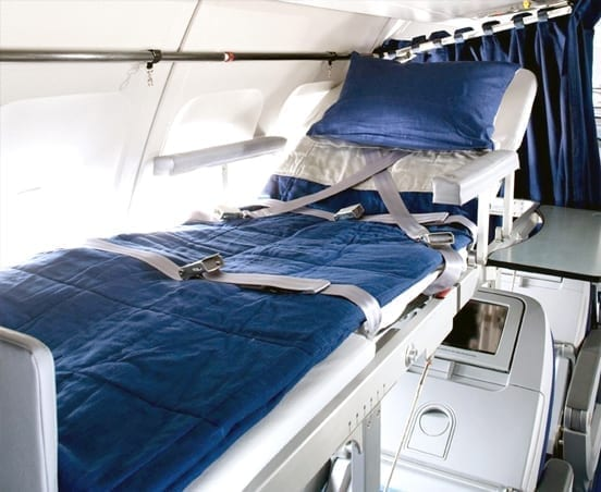 Medical stretcher on a commercial flight
